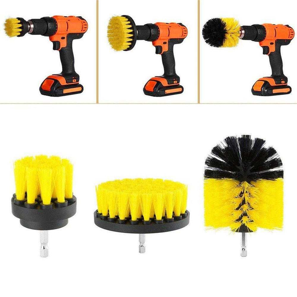 3 PC ELECTRIC DRILL BRUSH - POWER SCRUBBER drill scrub brush, drill brush attachment, power scrubber, power scrubber brush, drill cleaning brush