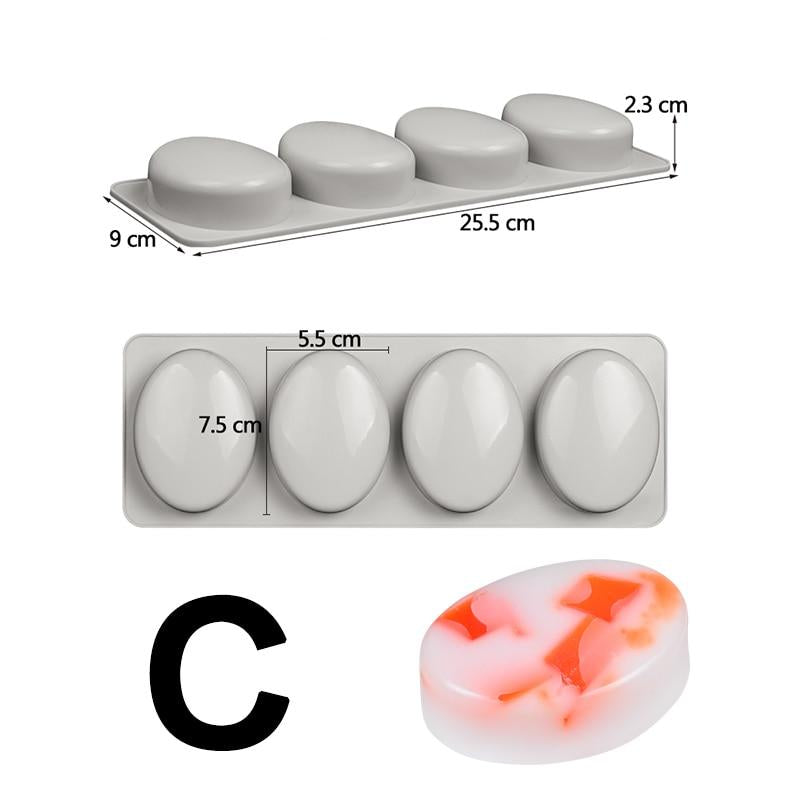 Round Oval and Bar Silicone Soap Molds for DIY Soap Making soap molds soap making molds diy soap mold