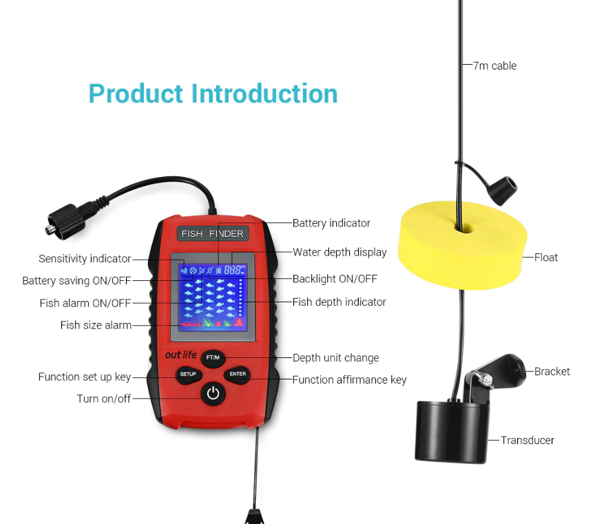 100M Wireless Sonar Portable GPS Fish Finder for Fishing
