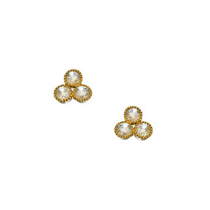 Three Stone Rose Cut Diamond Stud Earrings
