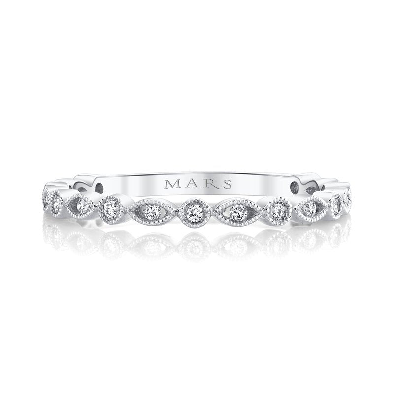 Alternating Marquise Round Stack Band - White Gold