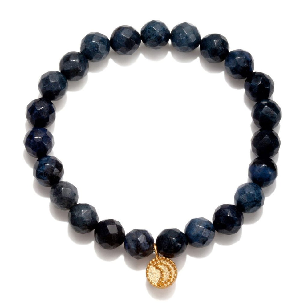 Load image into Gallery viewer, Gloaming Dumortierite Moon Stretch Bracelet