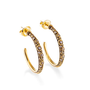 Carved Diamond Hoops