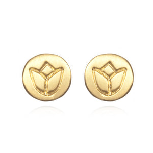 Load image into Gallery viewer, Gold Lotus Stud Earrings
