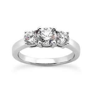 3 Stone Basket Set Engagement Ring