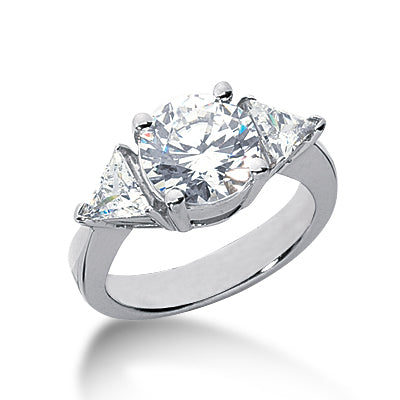 Three Stone Trillion Engagement Ring