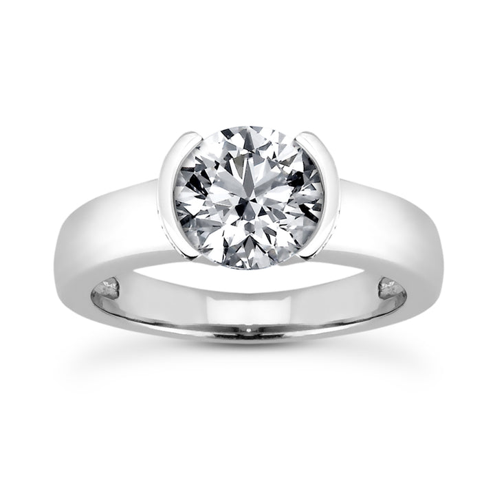 Half Bezel Engagement Ring