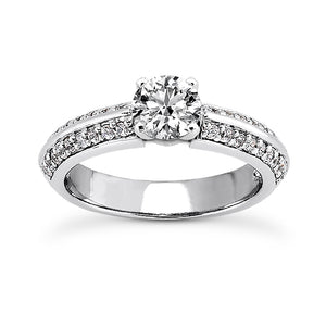 Pave Knife Edge Engagement Ring