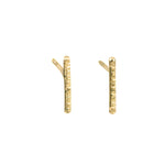 Hammered Gold Bar Studs