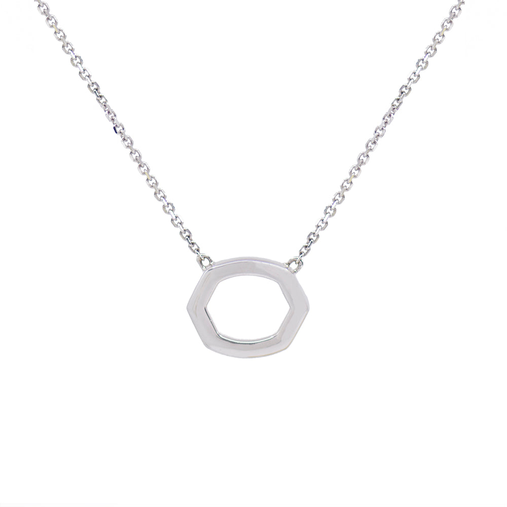 Load image into Gallery viewer, Hexagon Diamond Pave Necklace - White Gold