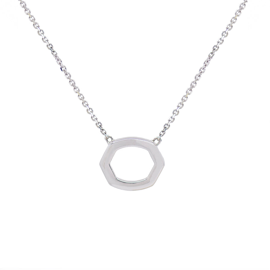 Hexagon Diamond Pave Necklace - White Gold