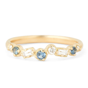Cascade Diamond And Sapphire Band