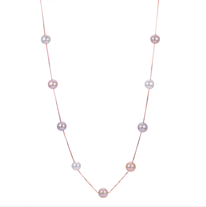 Multi-Color Pink Pearl Necklace