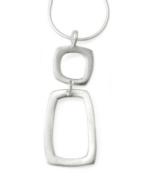 Square & Rectangle Silver Necklace