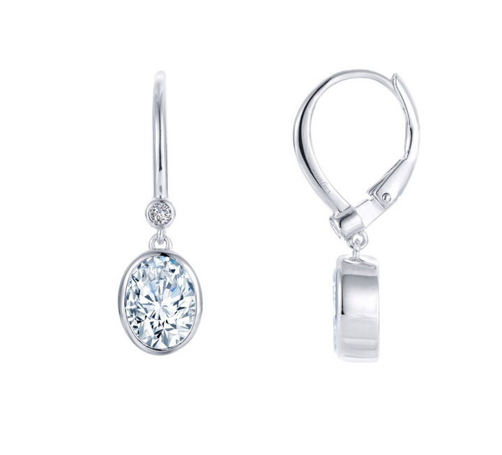 Bezel Set Oval Drop Earrings