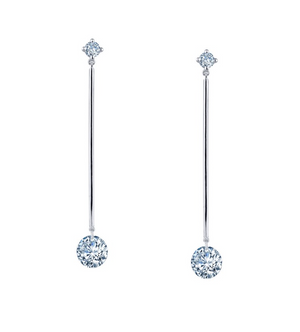 Long Round Drop Earrings
