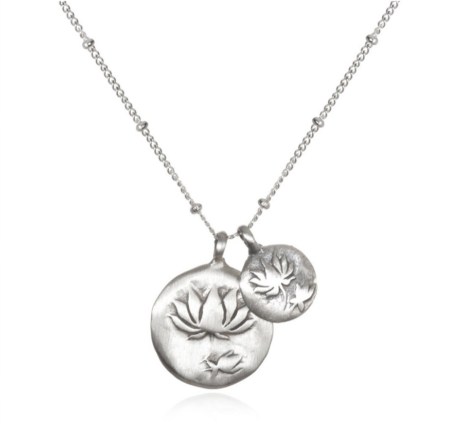 Silver Double Lotus Necklace