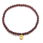 Gold Garnet Tree Of Life Stretch Bracelet
