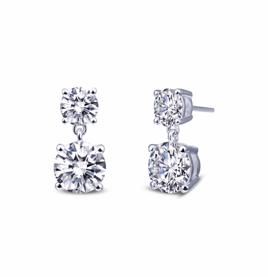 4 Prong Double Drop Earrings