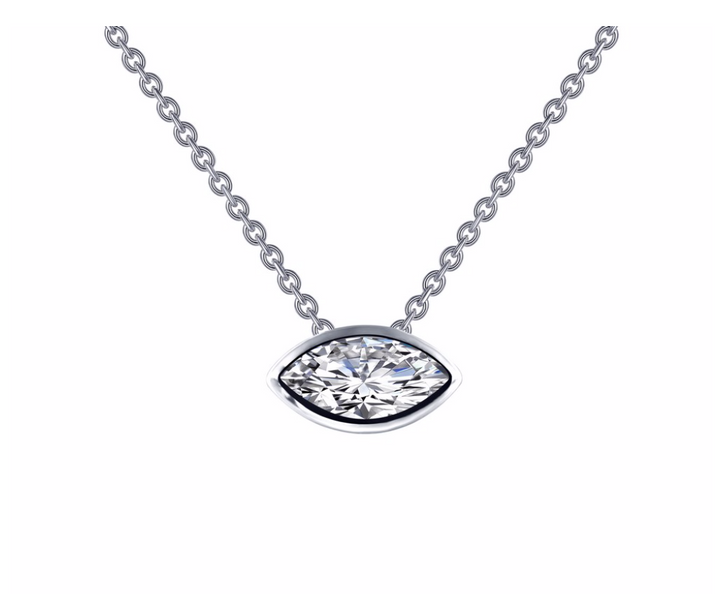Bezel Set Marquise Necklace