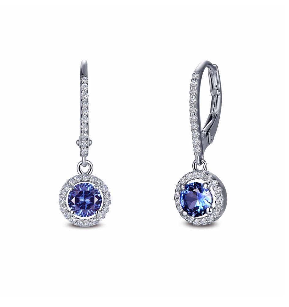 Load image into Gallery viewer, Simulated Tanzanite Drop Earrings