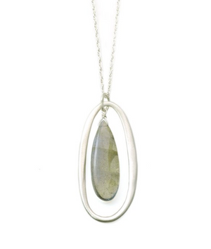 Load image into Gallery viewer, Oval Labradorite Necklace