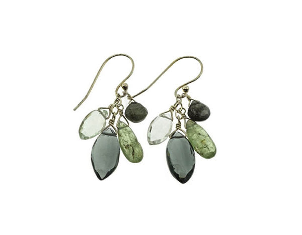 Kyanite, Moss Aqua, Green Amethyst & Quartz Silver Earrings