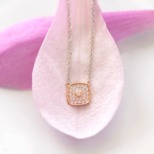 Rose Gold Pave Cushion Necklace