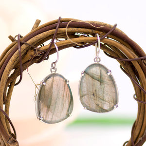 Labradorite Slice Earrings
