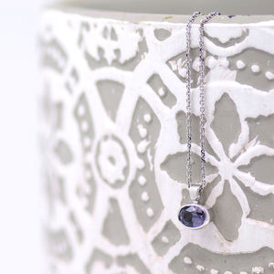 Bezel Set Spinel Necklace