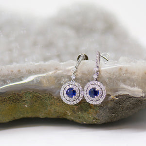 Double Diamond Halo Sapphire Drop Earrings