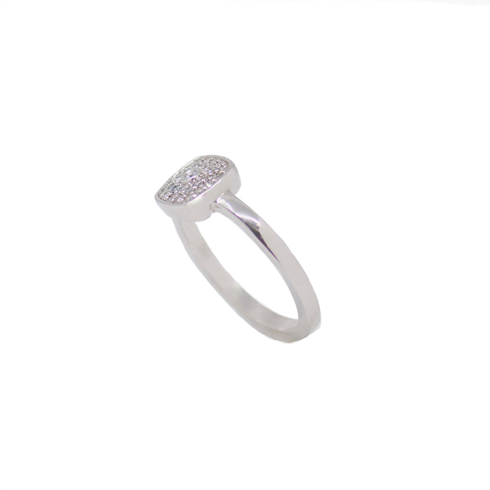 Cushion Pave Ring - White Gold