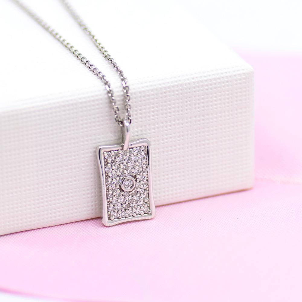 Rectangle Pave Necklace
