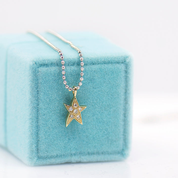 Two-Toned Pave Star Necklace