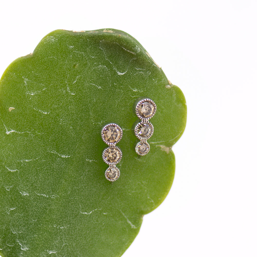 3 Tier Bezel Earrings