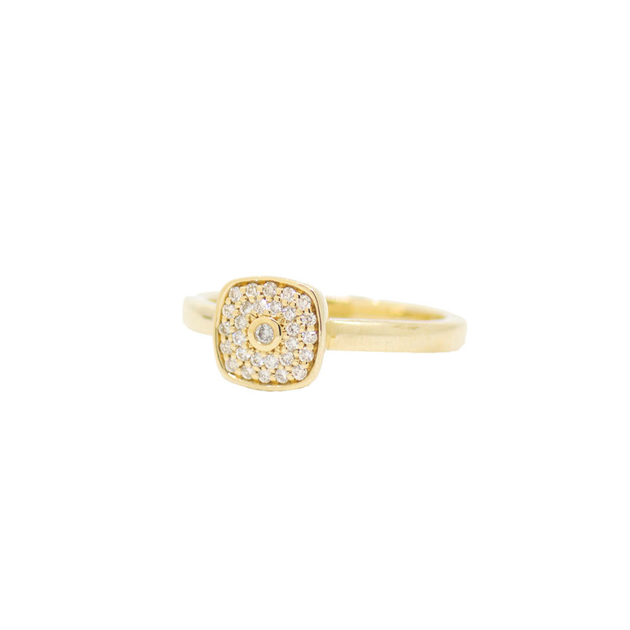 Cushion Pave Ring - Yellow Gold