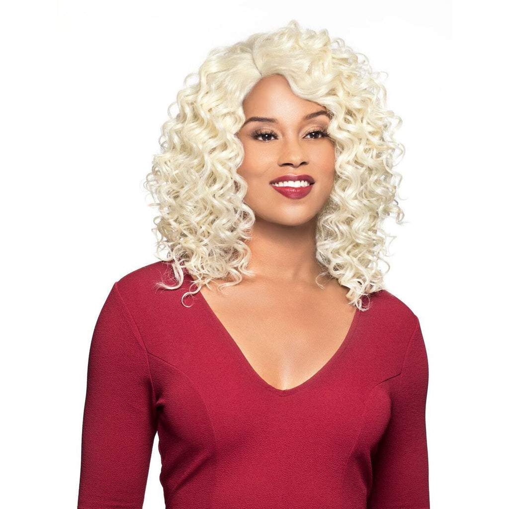 H/B Crystal - Lace Front Human Hair Blend Medium Curly Wig-Foxy Lady - African American Wigs