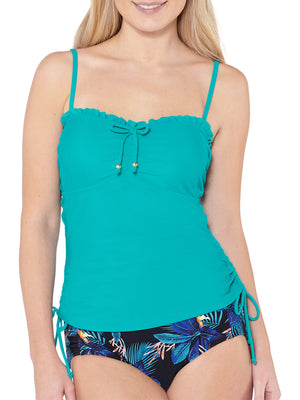 Side Tie Tankini Top - Teal