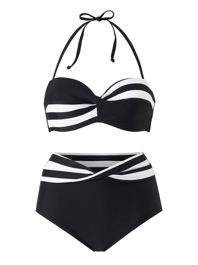Twist Front Bikini Set - Stripe