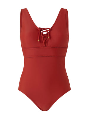 Lace Up Front Swimsuit - Burnt Orange