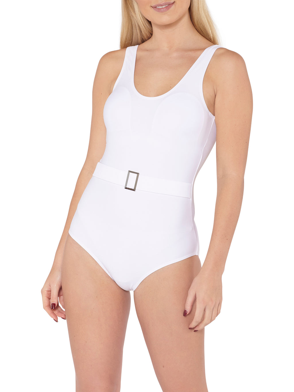 Belted Swimsuit - White