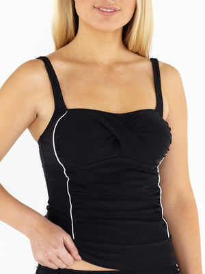 Ruched Front Tankini Top - Black