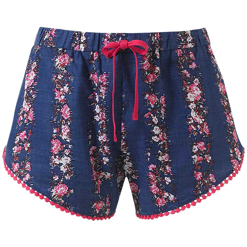 Beach Shorts / Sleep Shorts - Purple Floral