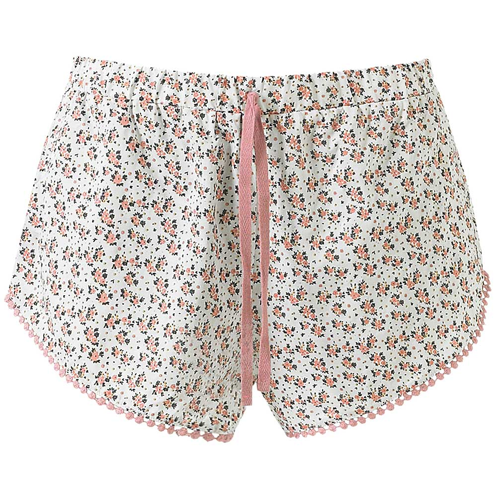 Beach Shorts / Sleep Shorts - White Ditsy