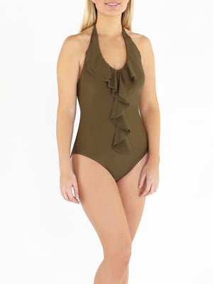Waterfall Frill Front Swimsuit - Khaki