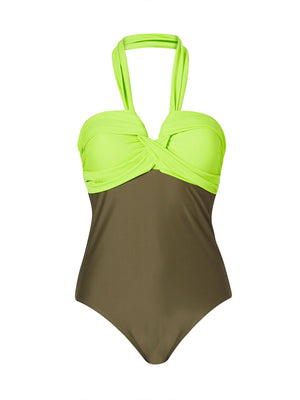 Twist Front Swimsuit - Khaki