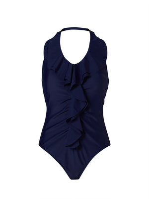 Waterfall Frill Front Swimsuit - Navy