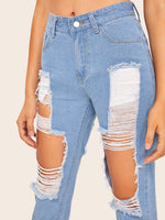 Extreme Destroyed Raw Hem Jeans