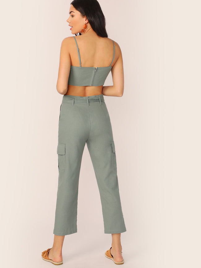 Crop Top and Cargo Pants Set