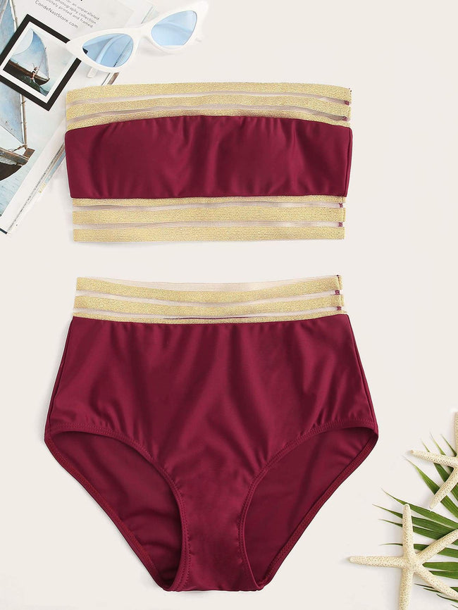 Bandeau and High Waist Bottoms Bikini SHEIN S Burgundy